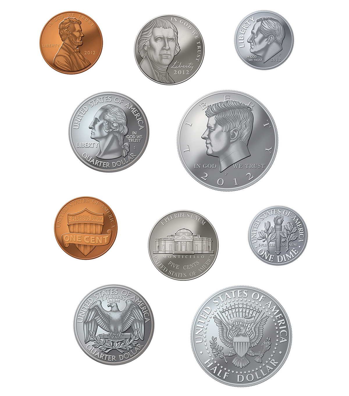 Money Accents Coins 30/pk, Set Of 6 Packs
