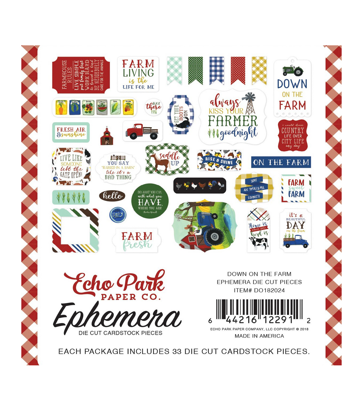 Echo Park Paper Co. Down on the Farm Ephemera Die-cut Cardstock-Icons
