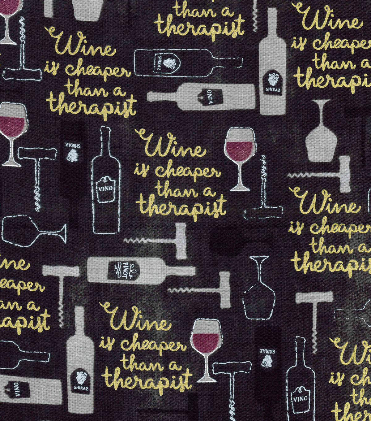 Novelty Cotton Fabric-Wine Is Cheaper