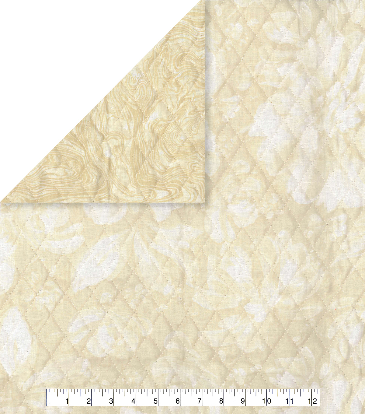 Double Faced Quilt Fabric 42\u0027\u0027-Cream Floral