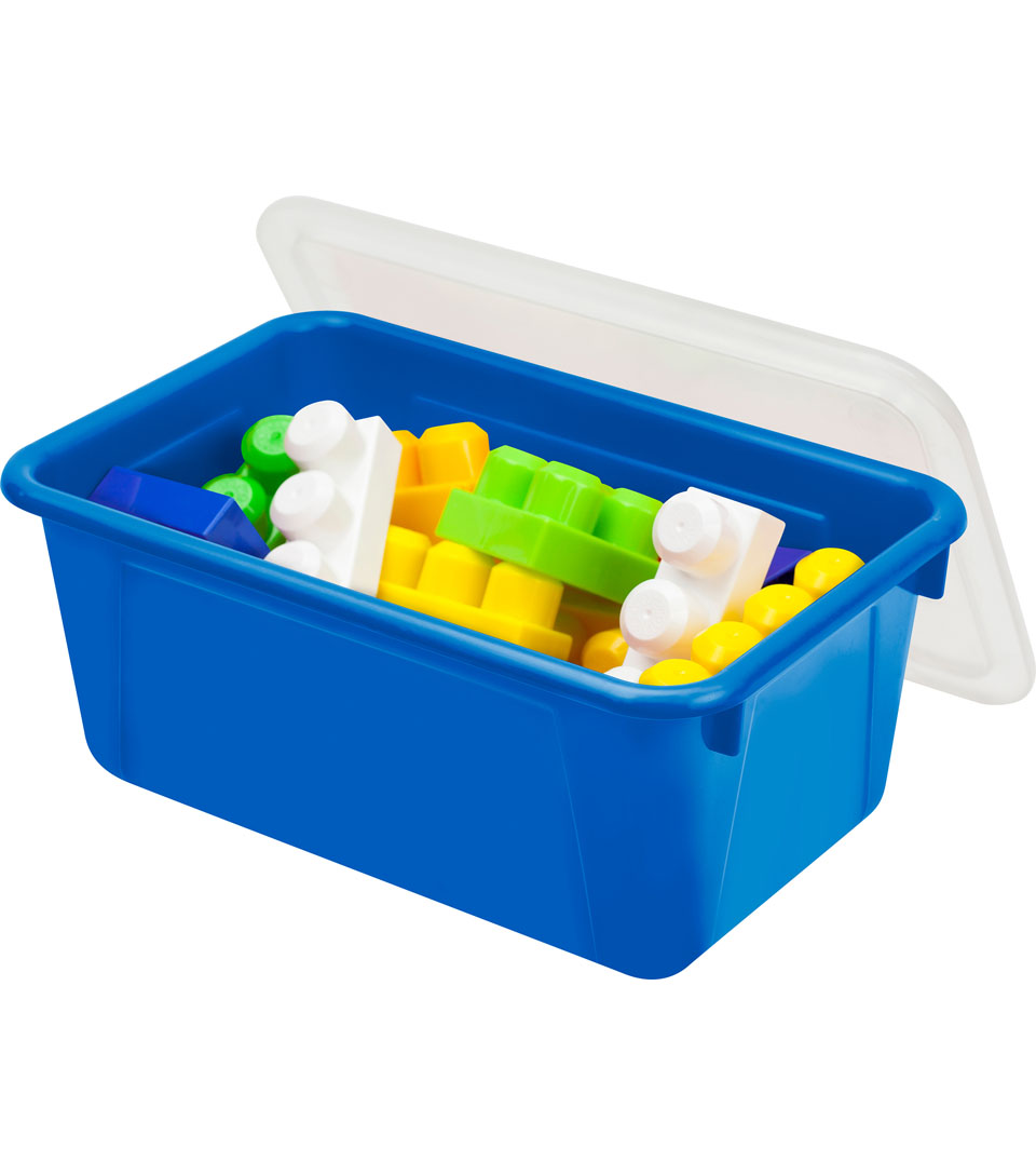 Storex Small Cubby Bin with Cover-Blue