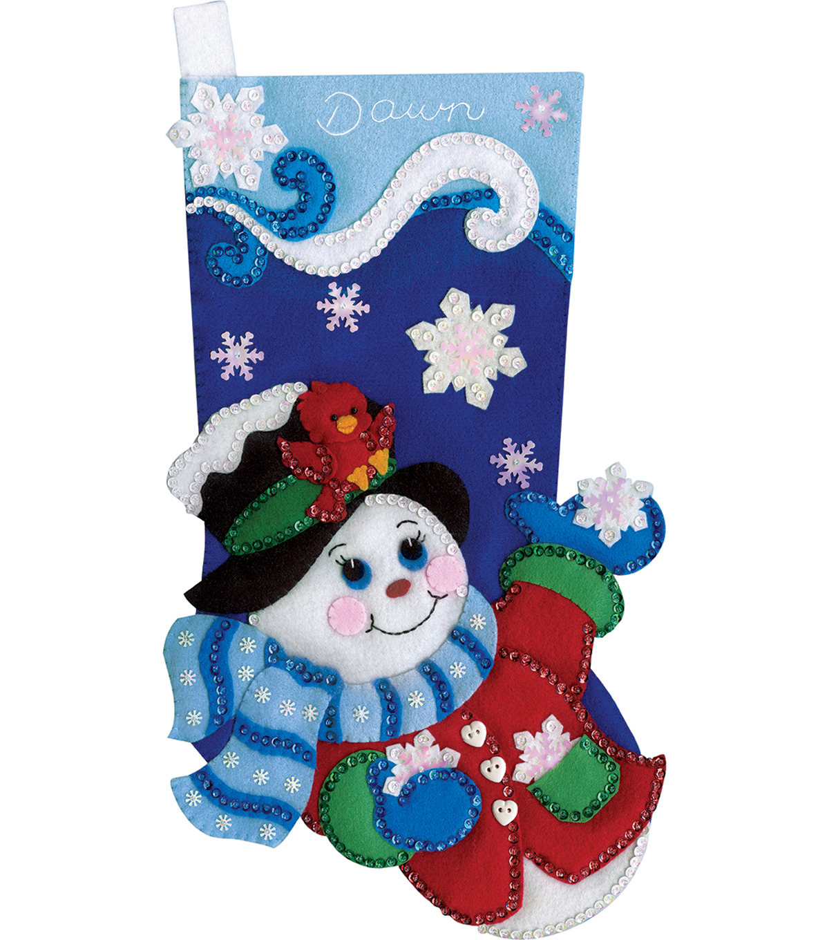 Design Works Crafts 18\u0027\u0027 Snowflake Snowman Stocking Felt Applique Kit