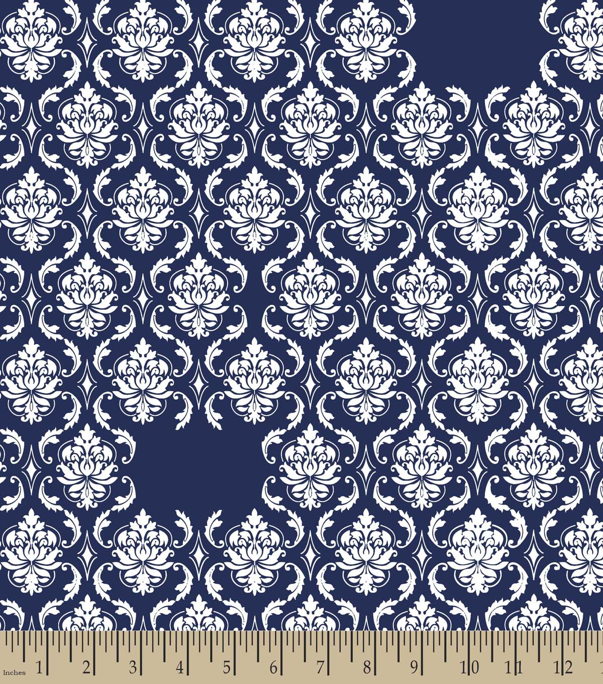 Navy Damask Print Fabric