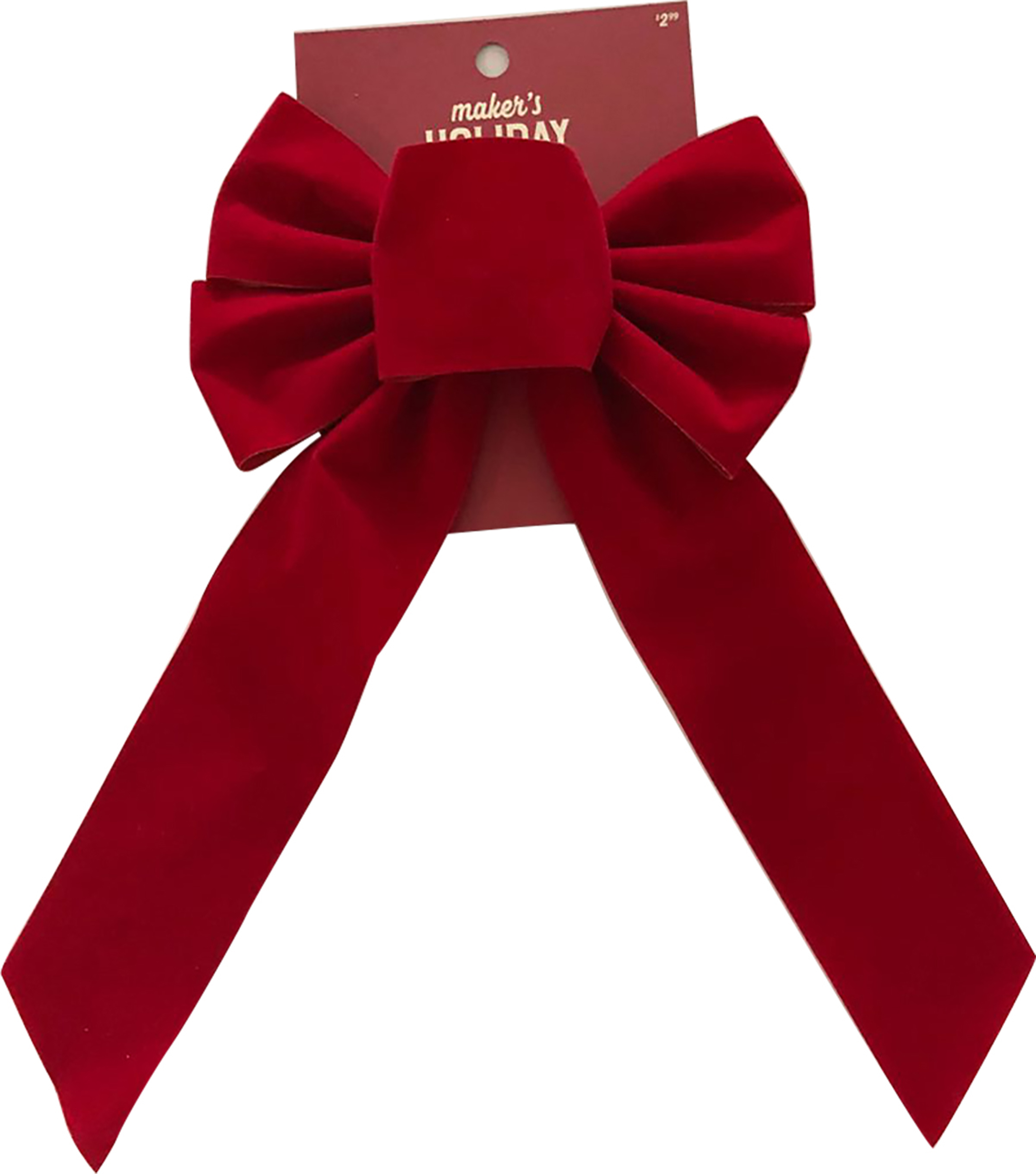Maker\u0027s Holiday Christmas 7\u0027\u0027 Veltex Bow-Red
