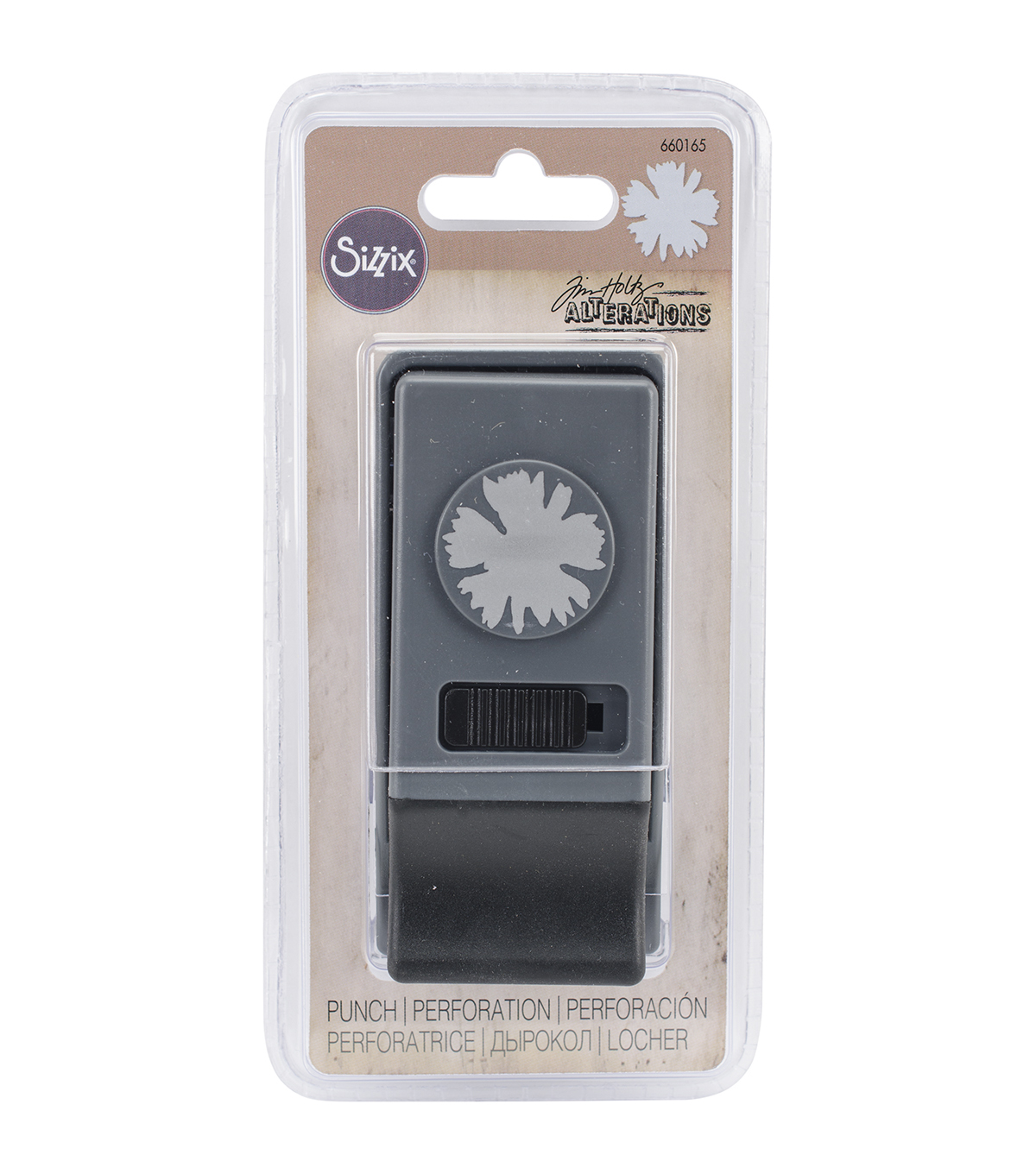 Sizzix Tim Holtz Medium Paper Punch-Spiky Floral