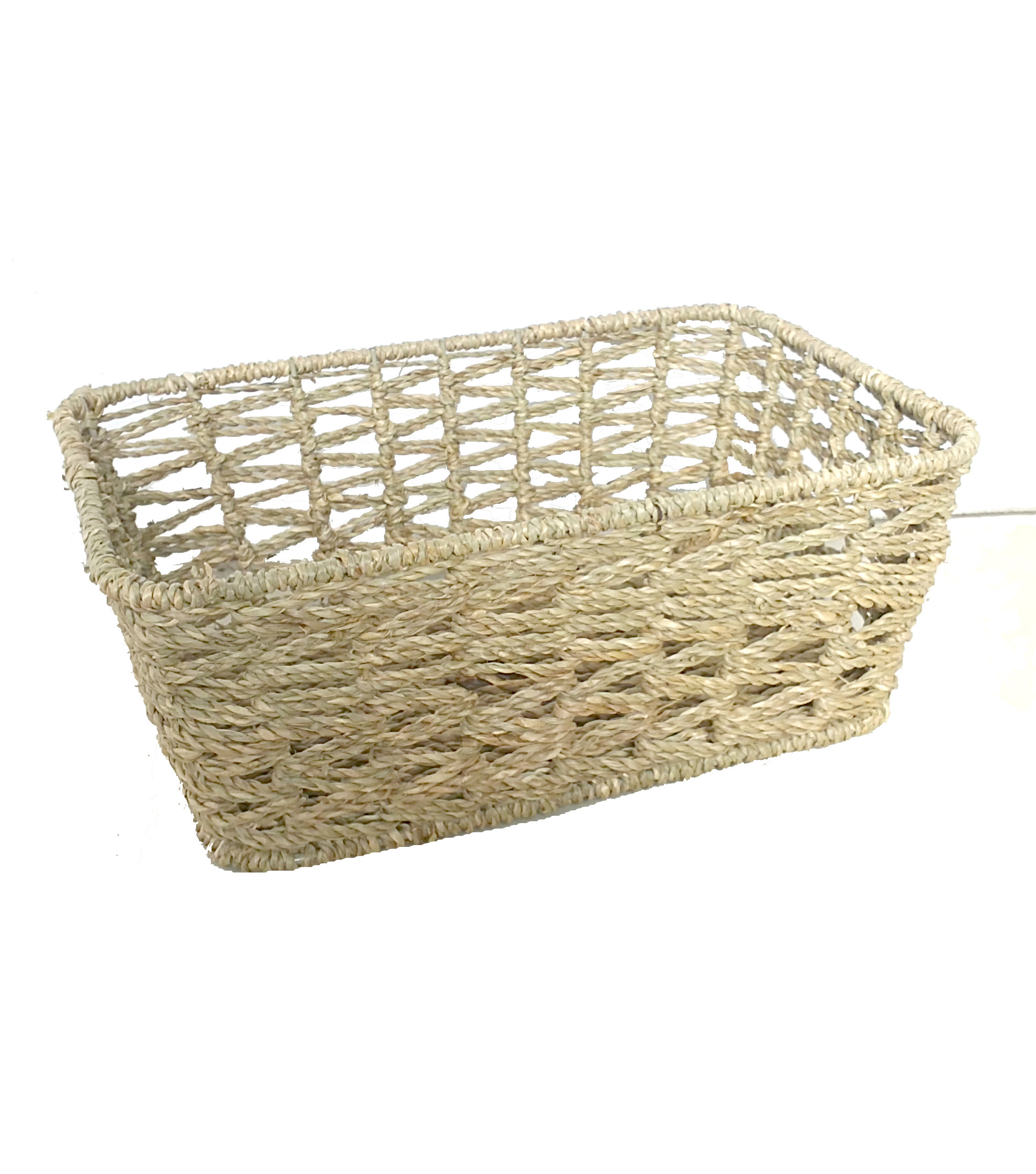 Organizing Essentials Open Rectangle Seagrass Weave Basket