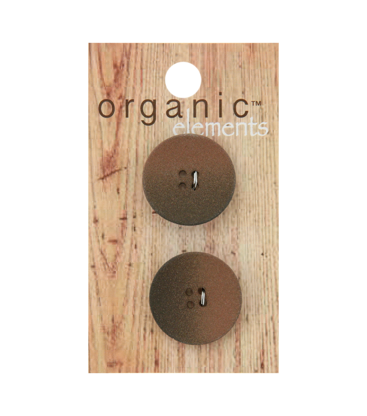Organic Elements 2 pk 22 mm 4 Hole Buttons-Brown Ombre