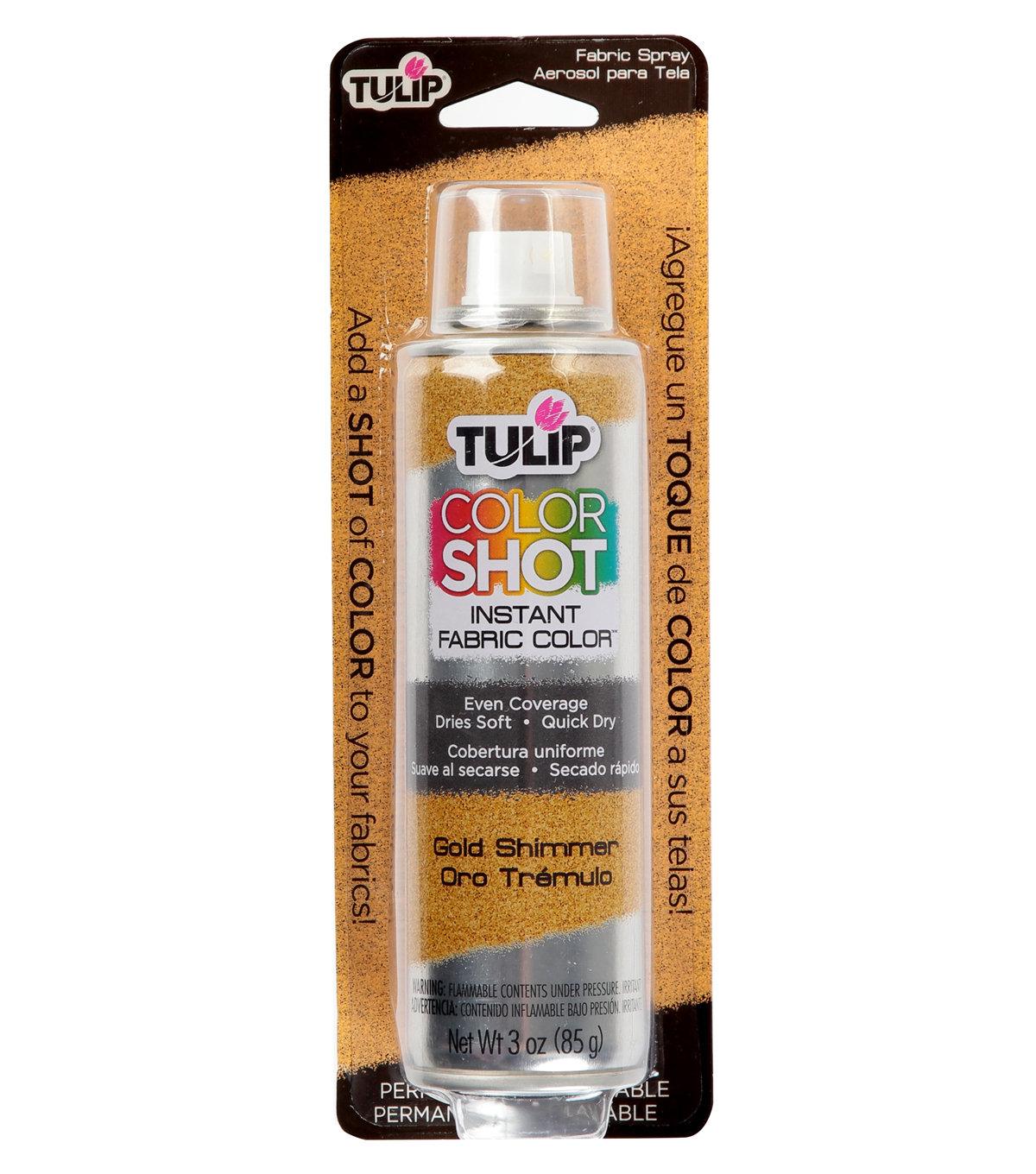 Tulip ColorShot Instant Fabric Color Spray 3oz, Gold Metallic