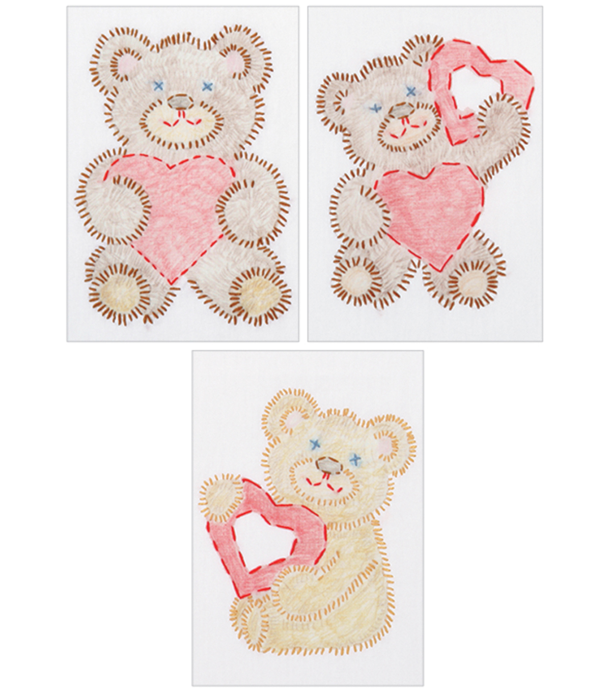 White Stamped Beginner Embroidery Kit 6\u0022X8\u0022 Samplers 3/Pkg-Fuzzy Bears
