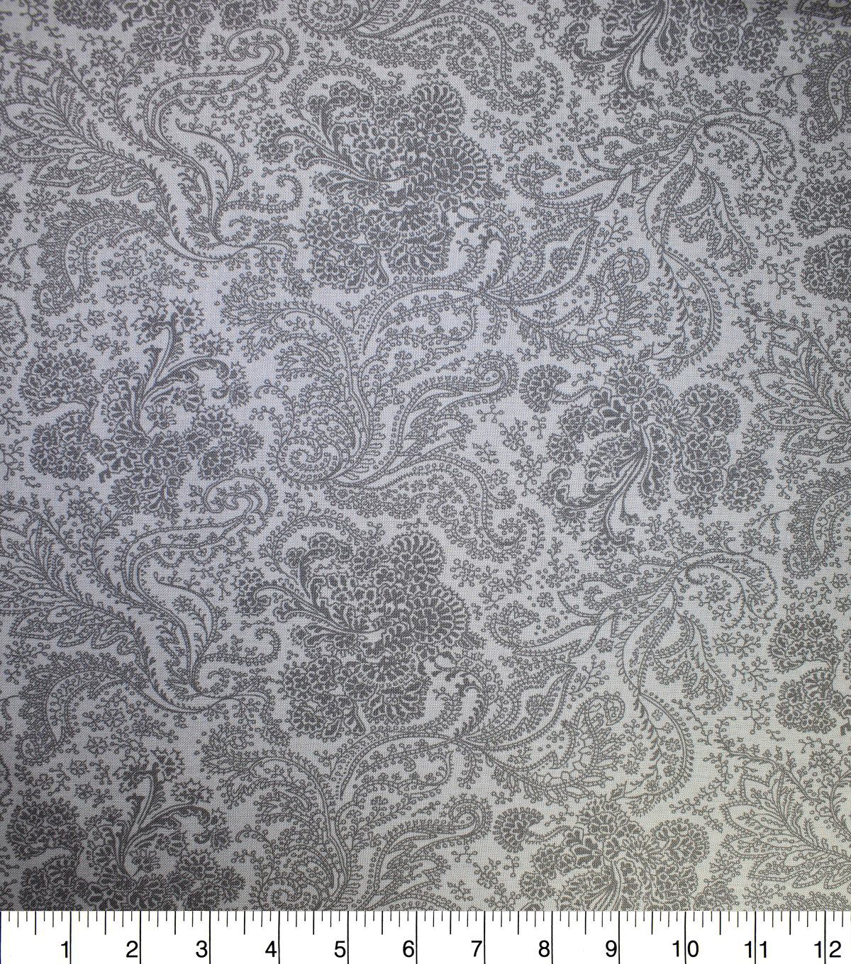 Premium Wide Cotton Fabric-Gray Twisted Paisley