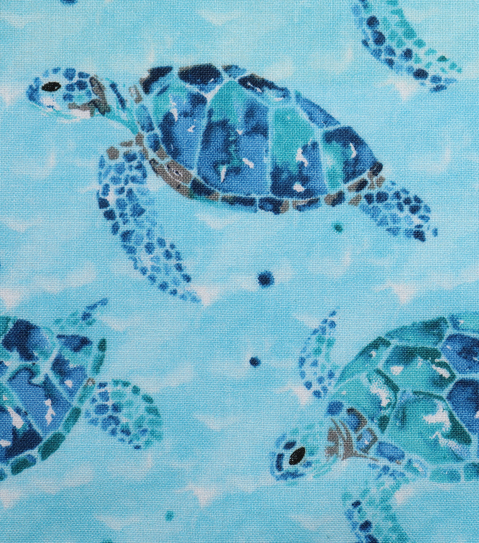 Novelty Cotton Fabric 43\u0027\u0027-Sea Glass Turtle Swimming