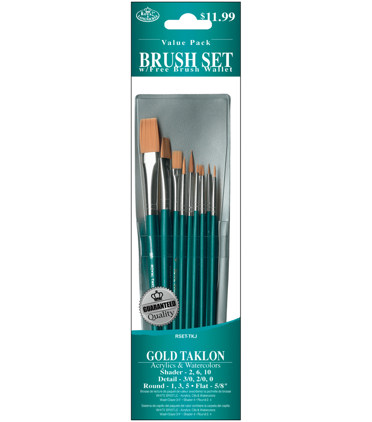 Gold Taklon Value Pack Brush Set 10 Pack
