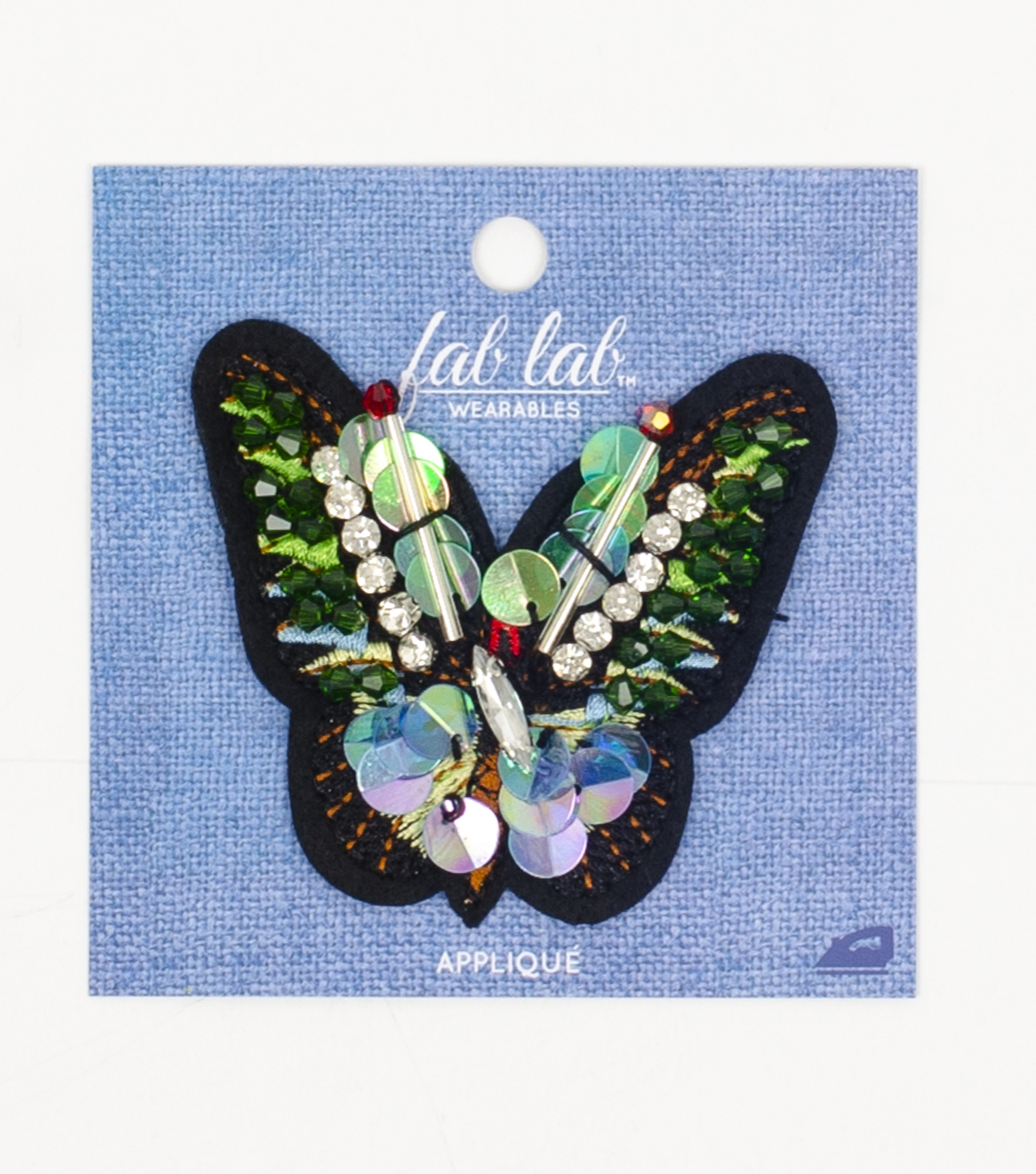 Fab Lab Iron On Applique-Green Beaded Butterfly