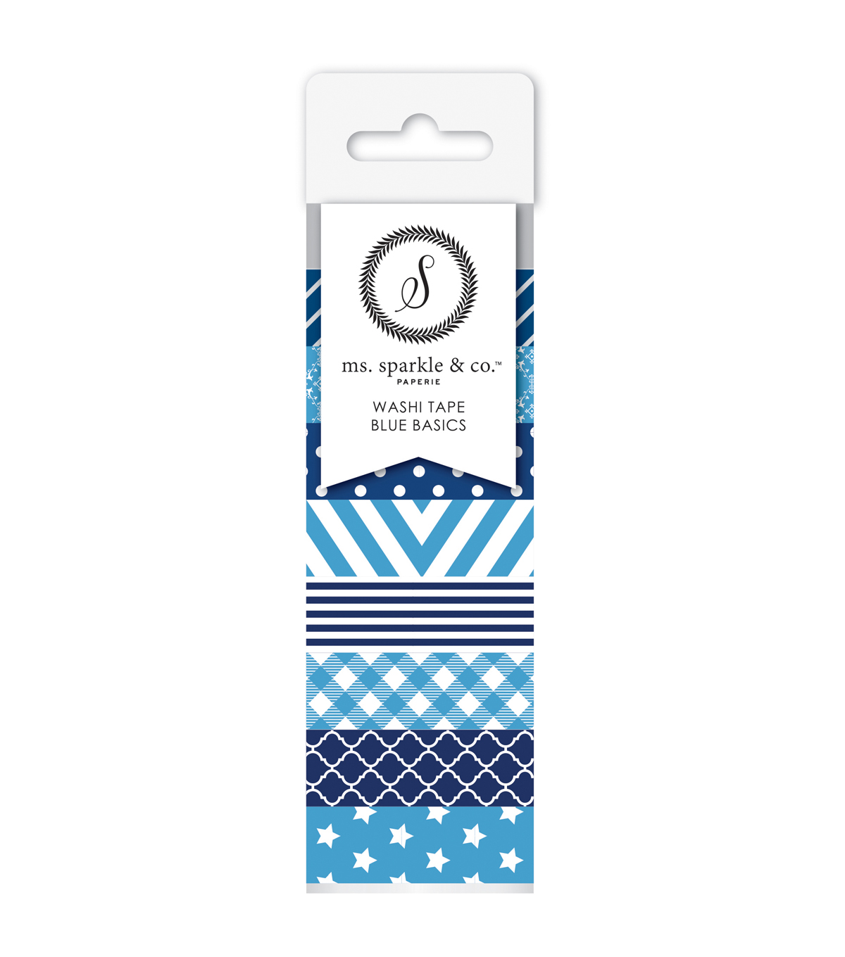 Ms. Sparkle & Co. 8 pk Washi Tapes 0.6 mmx10 yds-Blue Basics