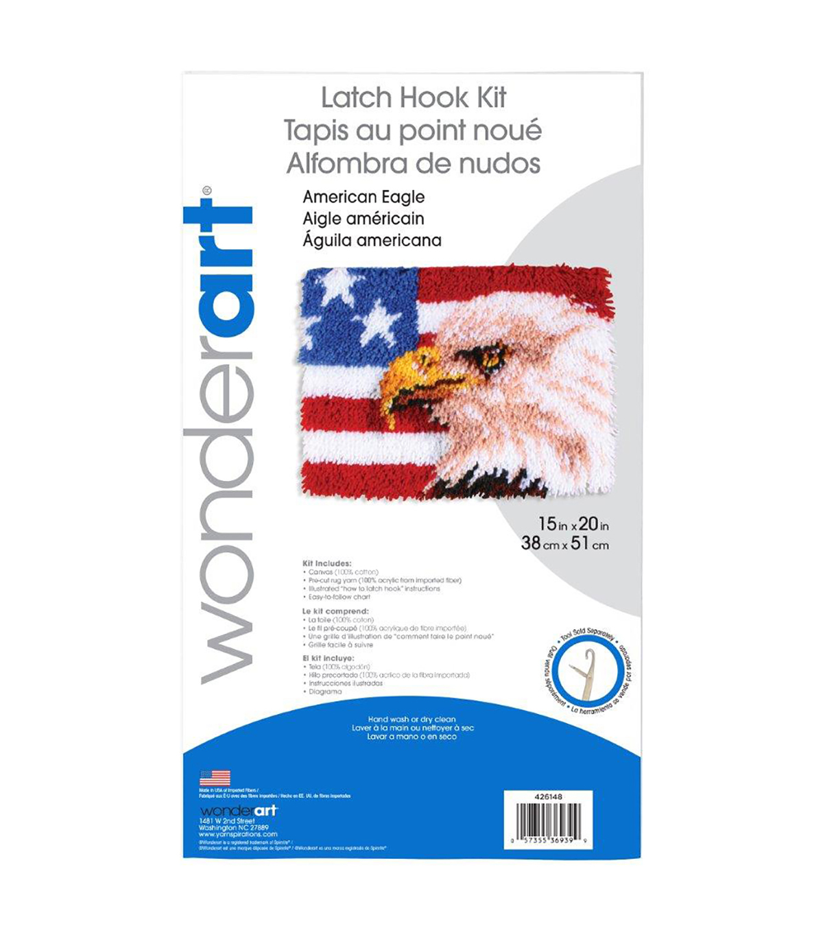 Wonderart Latch Hook Kit 15\u0022X20\u0022-American Eagle
