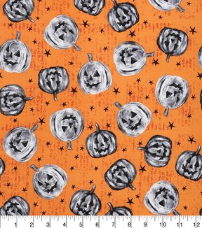 Halloween Cotton Fabric-Haunting Pumpkins And Stars