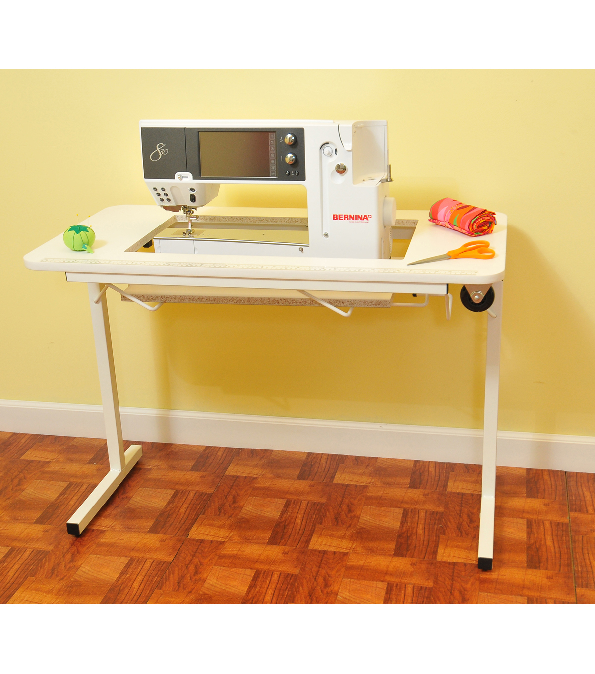 Sewing Table On Wheels.Arrow Homespun Sewing Table With Wheels White