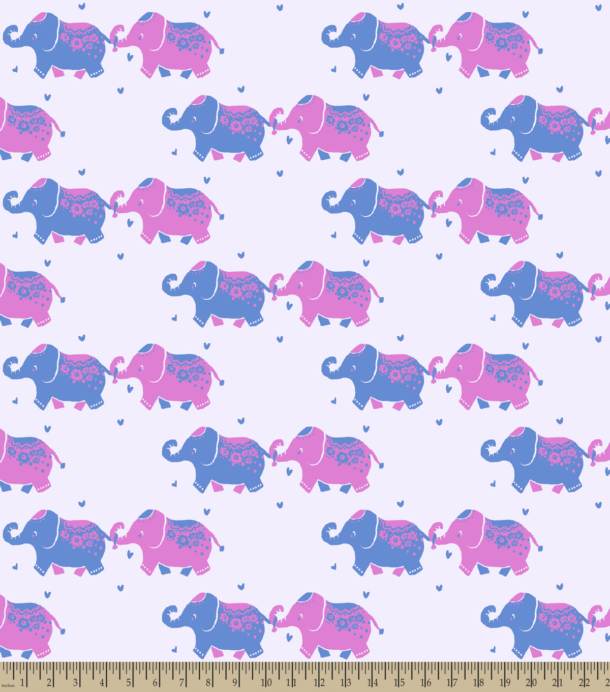 Pink & Purple Elephant Print Fabric