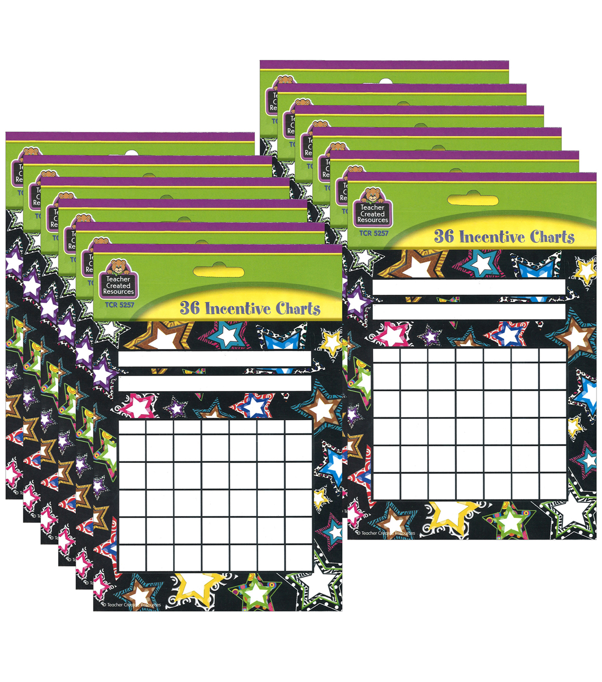 Fancy Stars Incentive Charts, 36 Per Pack, 12 Packs