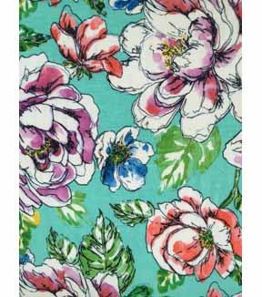 364cb4ada0d Knit Fabric 57\u0027\u0027-Floral Sketch on Aqua