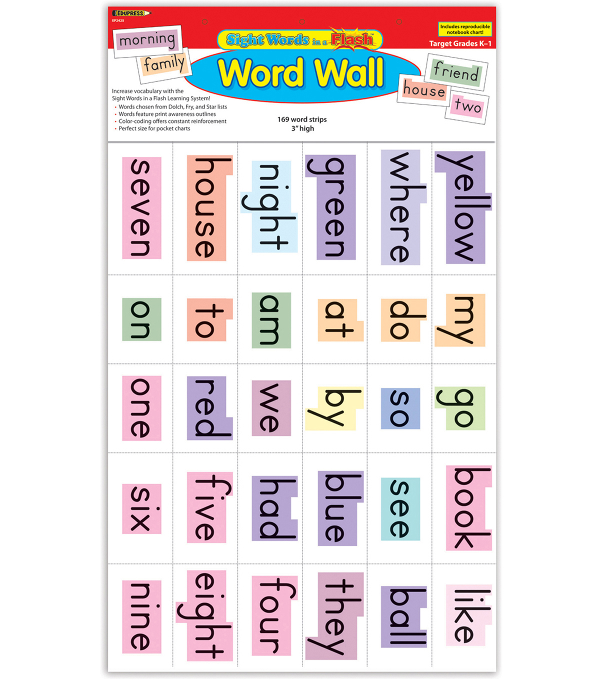 Edupress Sight Words in a Flash Word Walls Set, Grades K-1, 2 Sets