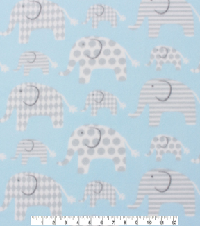 Blizzard Fleece Fabric 59\u0022-Elephants Blue