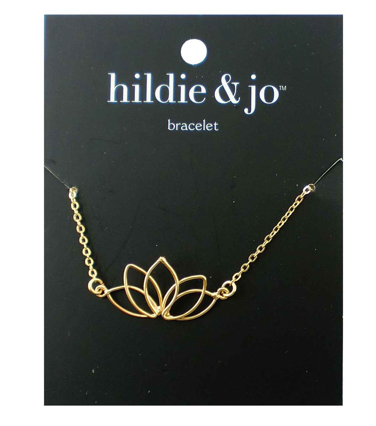 hildie & jo 8\u0027\u0027 Metal Open Lotus Flower Bracelet-Gold