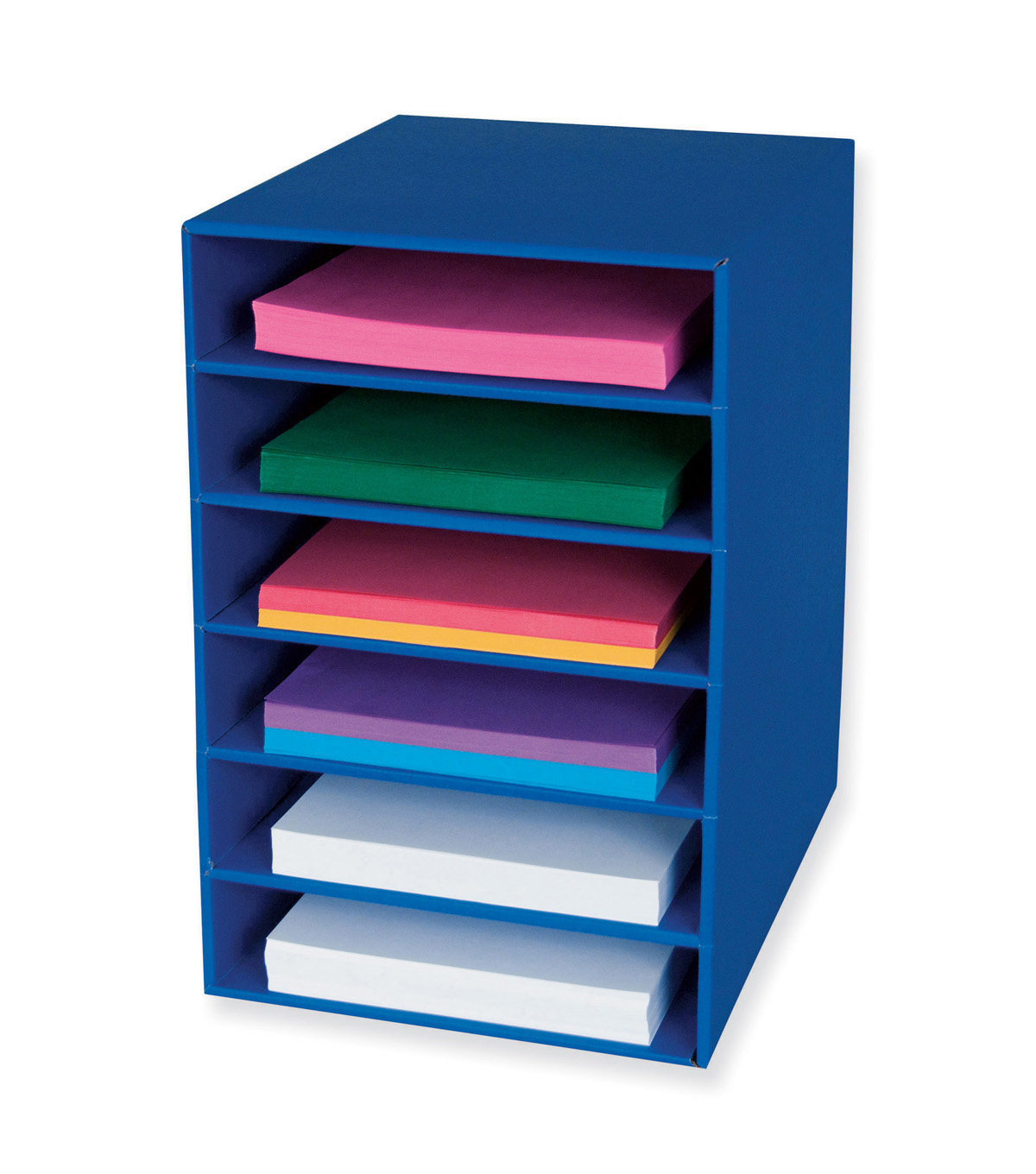 Classroom Keepers 6-Shelf Organizer, Blue, 17-3/4\u0022H x 12\u0022W x 13-1/2\u0022D