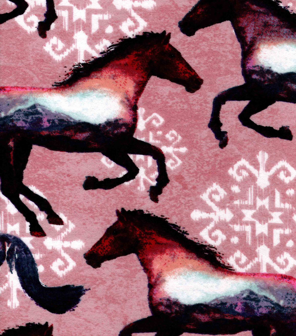 Snuggle Flannel Fabric 42\u0022-Double Exposure Horses
