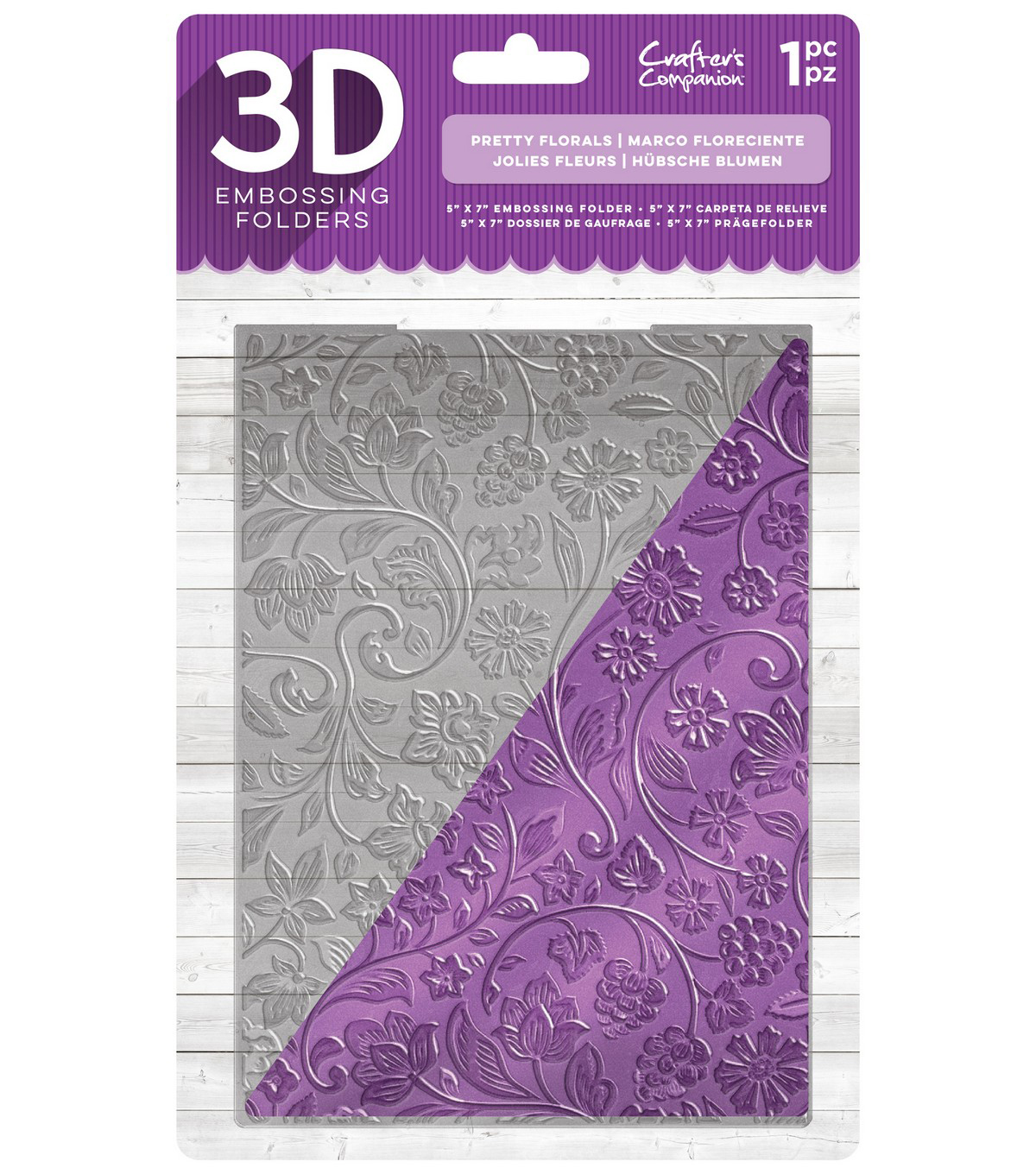 Crafter\u0027s Companion 5\u0027\u0027x7\u0027\u0027 3D Embossing Folder-Pretty Florals