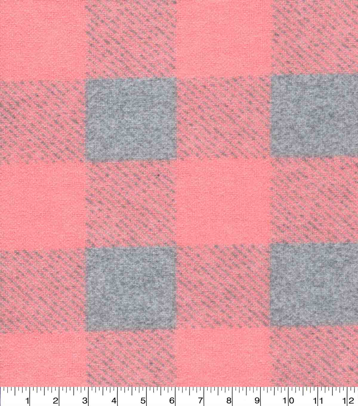 Flannel Fabric-Peach & Gray Buffalo Check