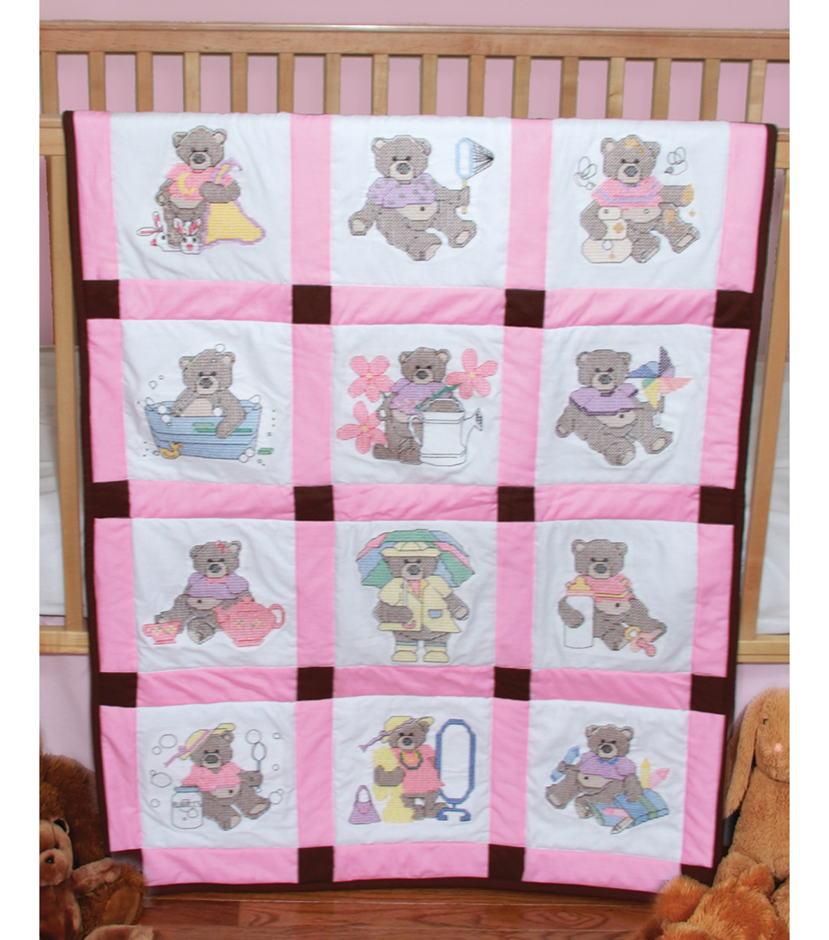 Baby Quilt Blocks.Fairway Stamped Baby Quilt Blocks Girl Bears