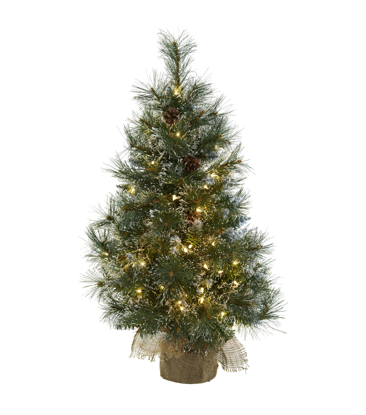 Nearly Natural Pre Lit 3' Christmas Tree with Frosted Tips ...