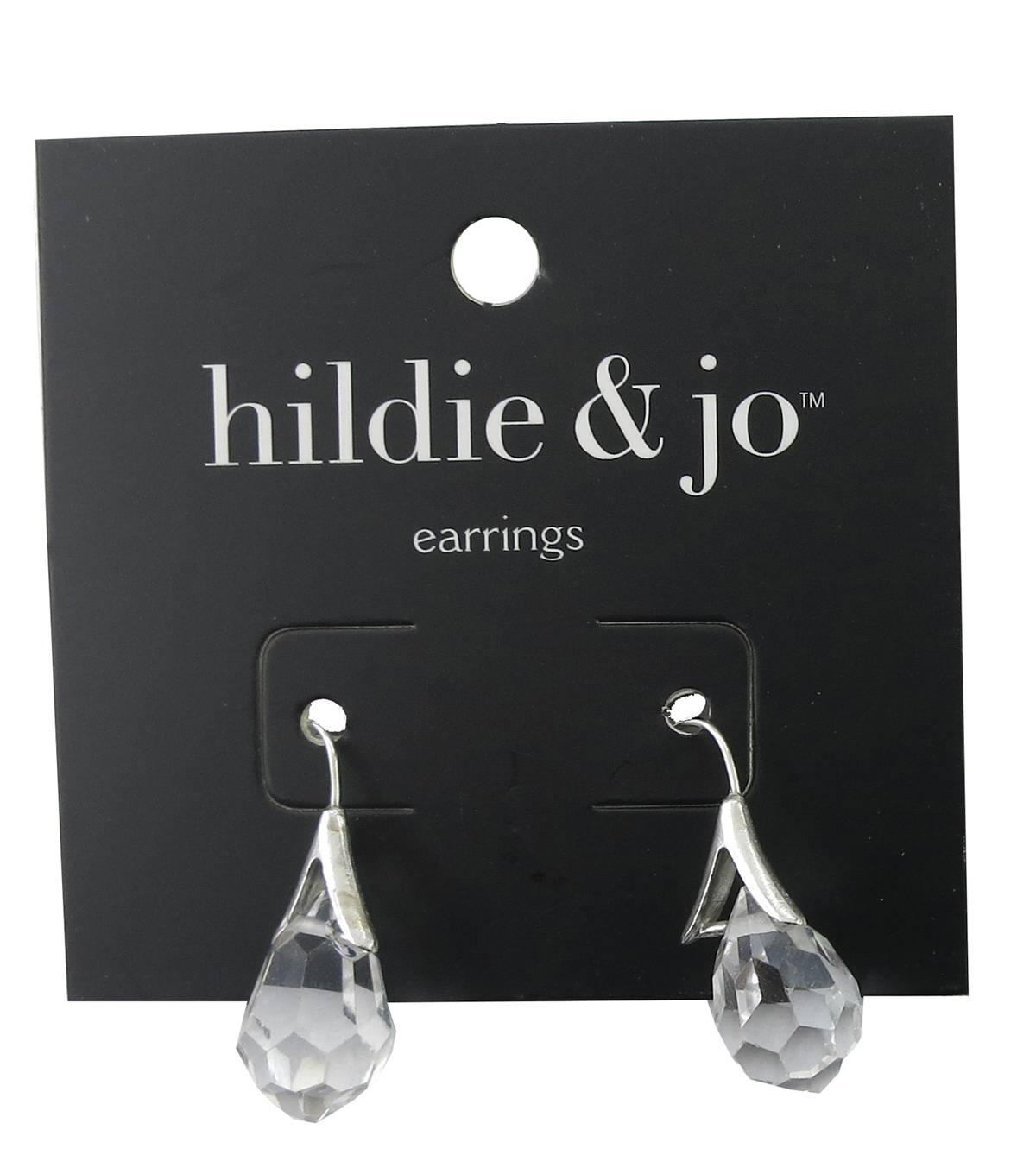 hildie & jo Silver Earrings-Clear Crystal Teardrop