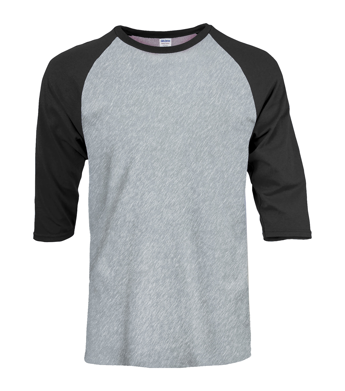 Gildan Large Adult Raglan Crew Sport T-Shirt, Grey-black