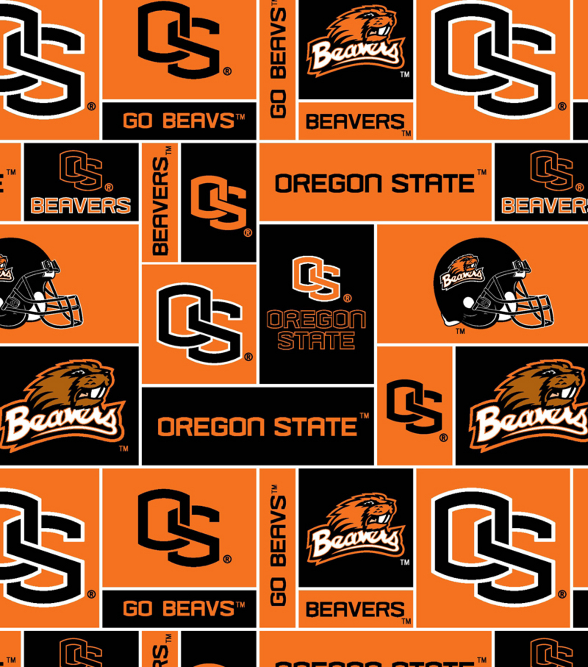 Oregon State University Beavers Fleece Fabric -Logo Block