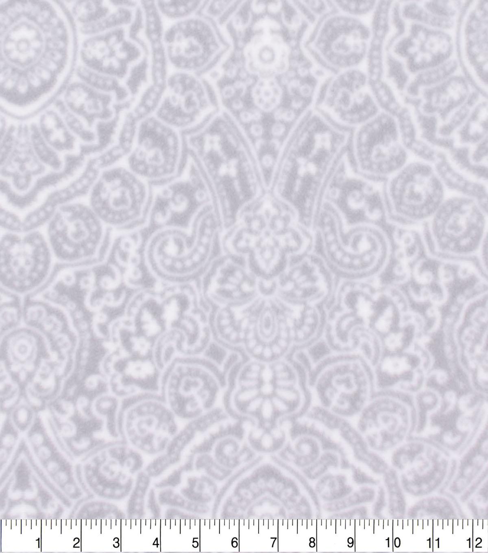 Anti Pill Plush Fleece Fabric Grey Ink Stamp