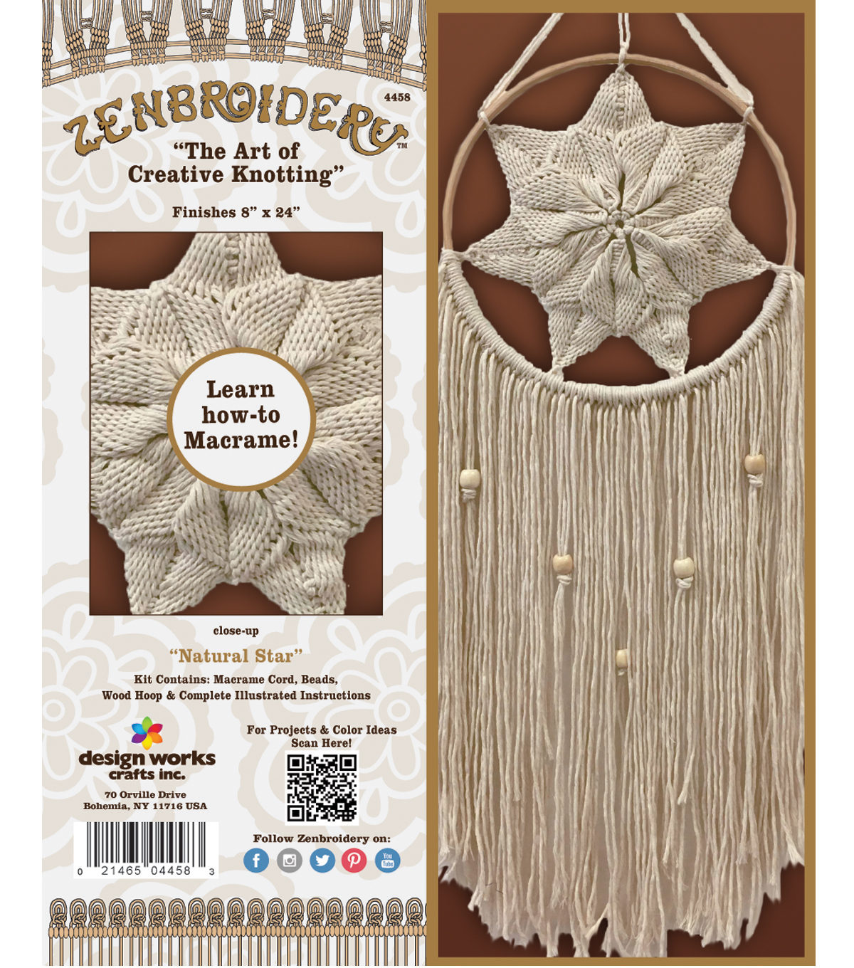 Design Works/Zenbroidery Macrame Wall Hanging Kit-Natural Star
