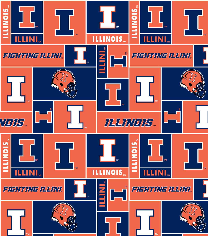 University of Illinois Fighting Illini Fleece Fabric 58\