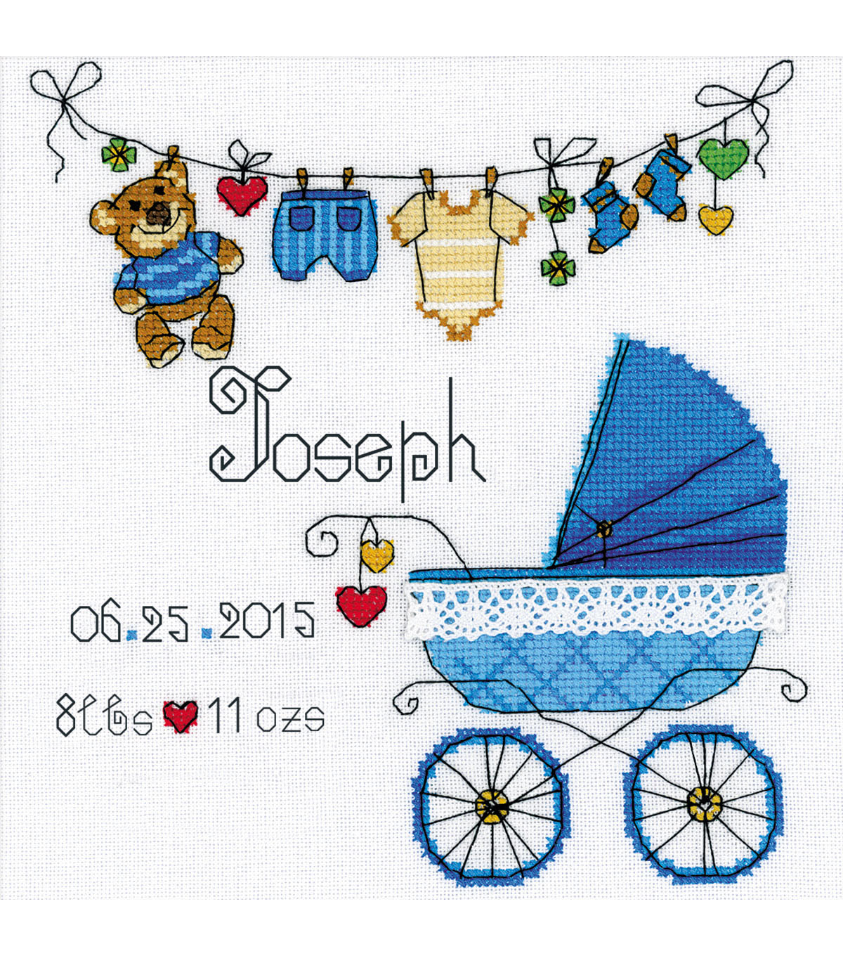 RIOLIS 7.75\u0027\u0027x7.75\u0027\u0027 Counted Cross Stitch Kit-It\u0027s a Boy! Birth Record