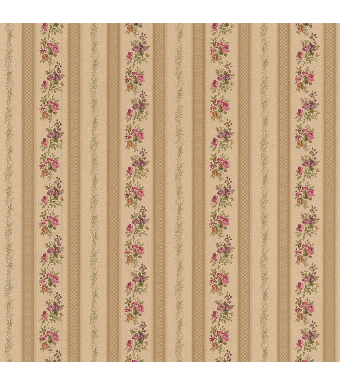 Princess Gold Floral Stripe Wallpaper Sample Joann