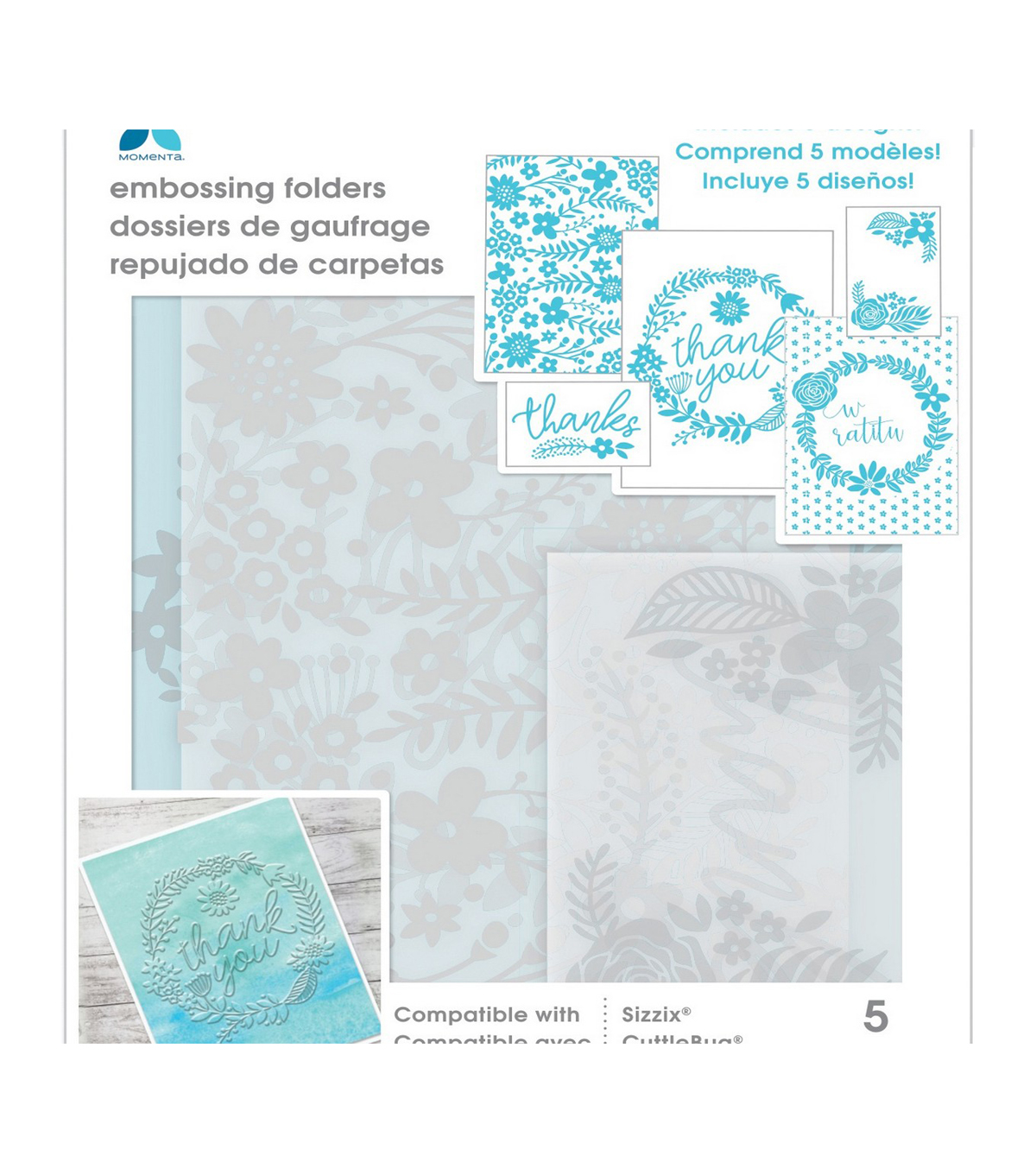 Momenta Embossing Folder-Thank You Floral