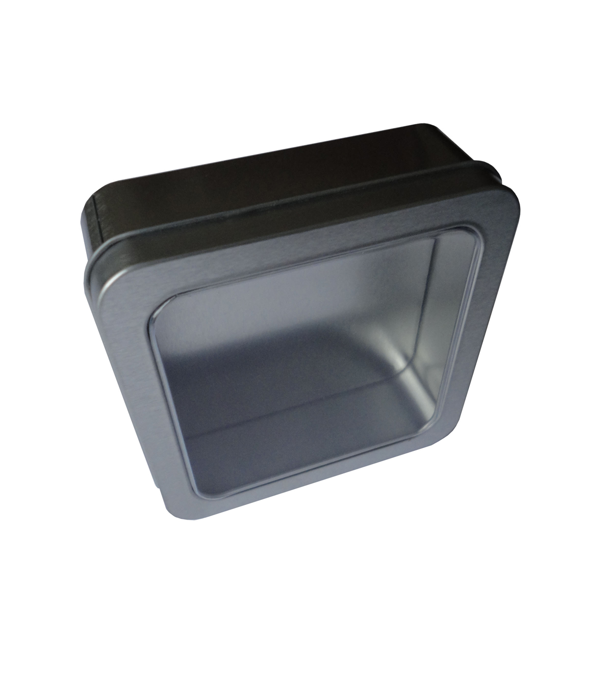Square Tin Box with Clear Lid Silver