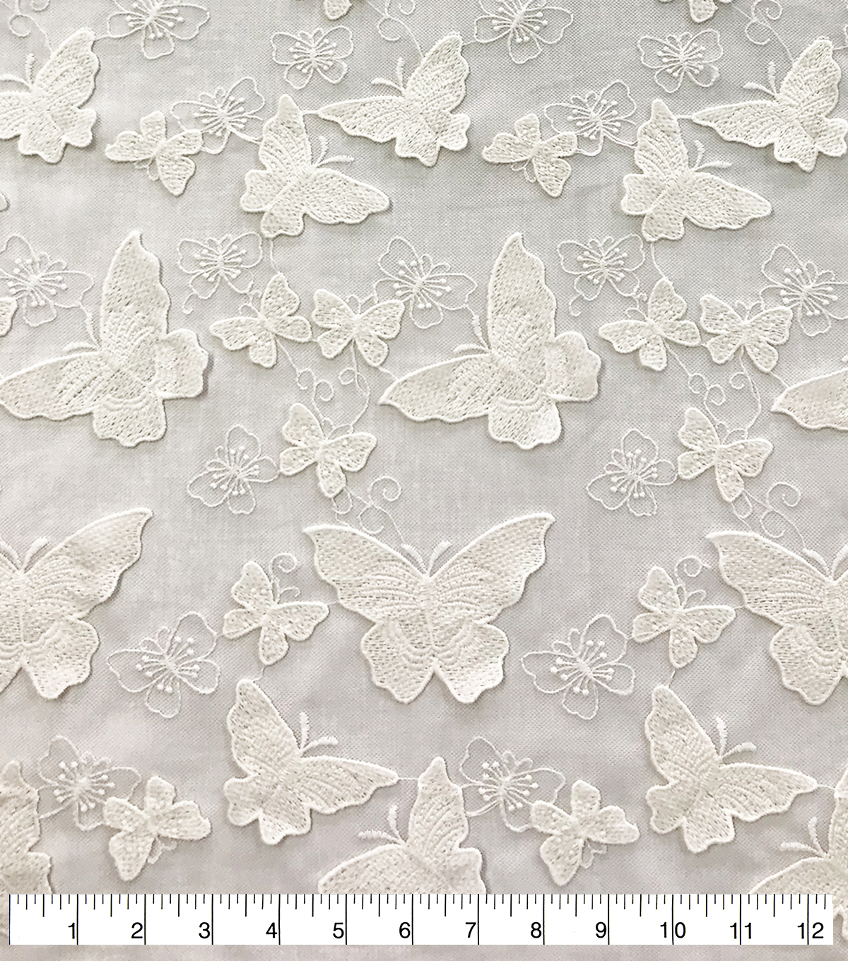 Sew Sweet Dahlia Sheer Mesh Fabric-All Over Embroidered Butterfly White