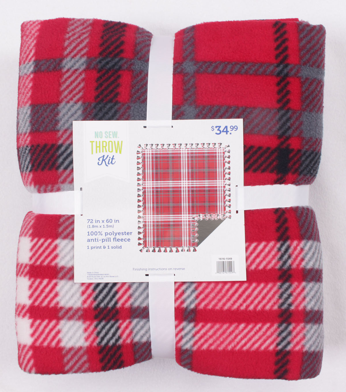 Christmas Fleece No Sew Throw Kit-Red Plaid