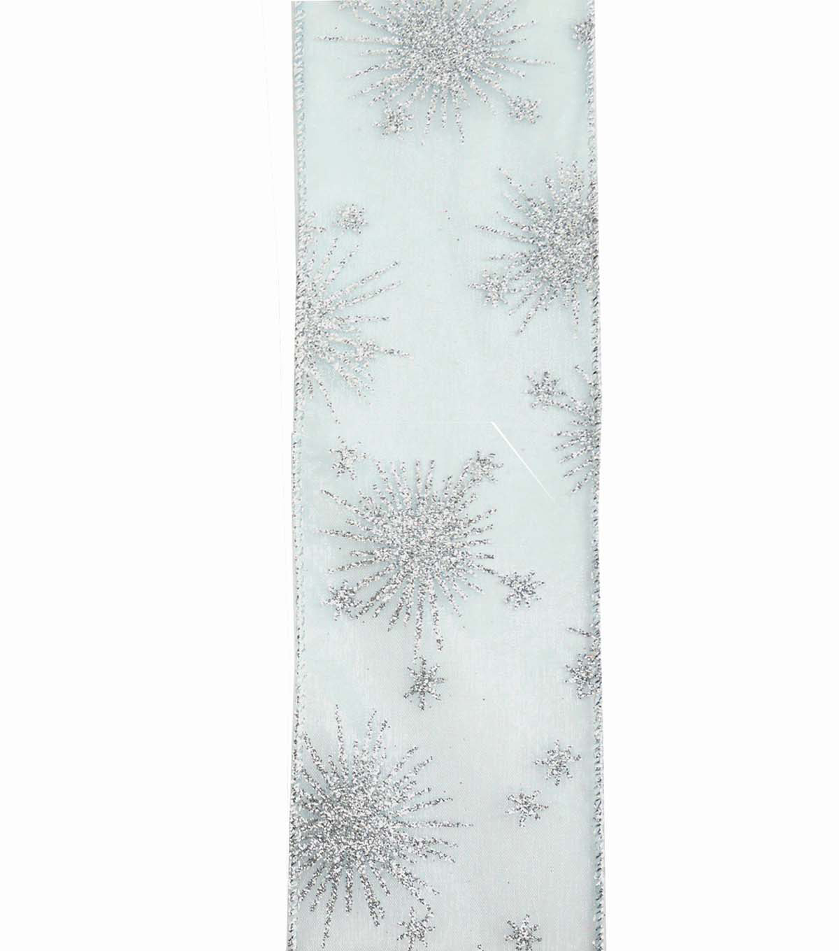 Maker\u0027s Holiday Christmas Ribbon 2.5\u0027\u0027x25\u0027-Silver Glitter Starburst