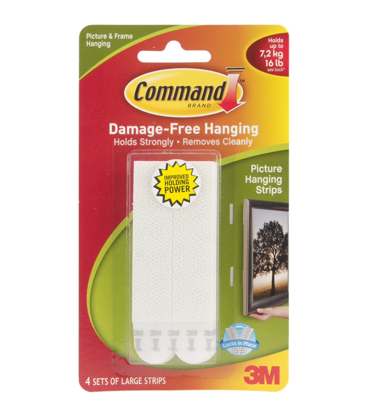 3m Command 4ct Large Picture Hanging Strips White