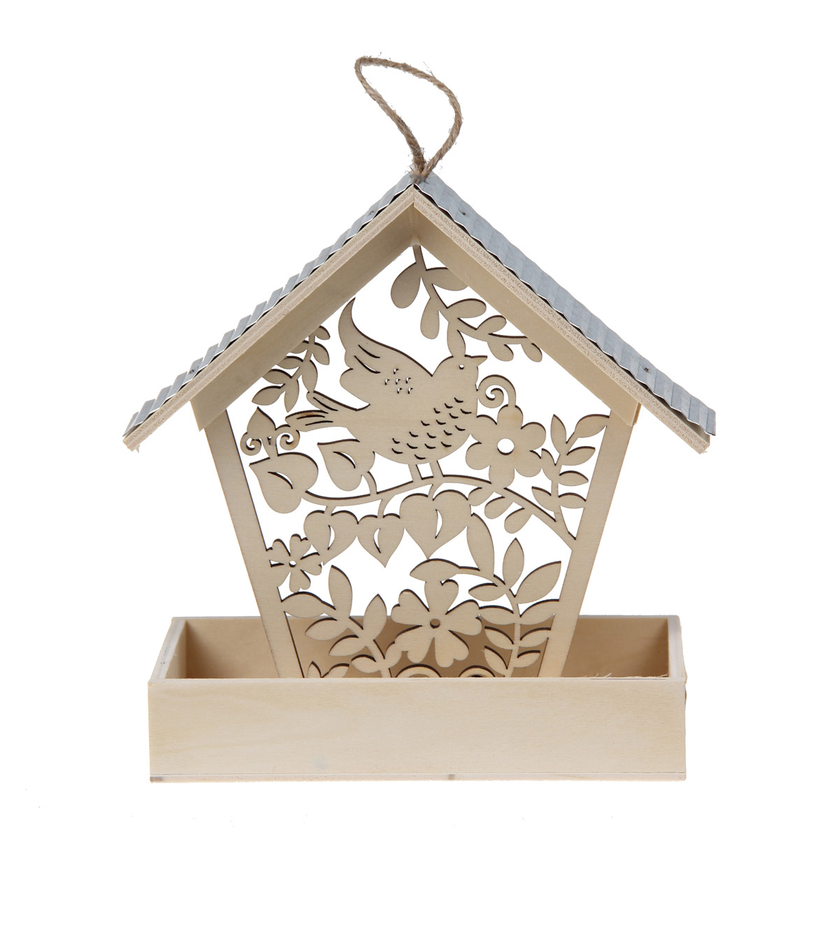 Simply Spring Small Birdhouse Feeder with Laser Cut Bird & Leaves