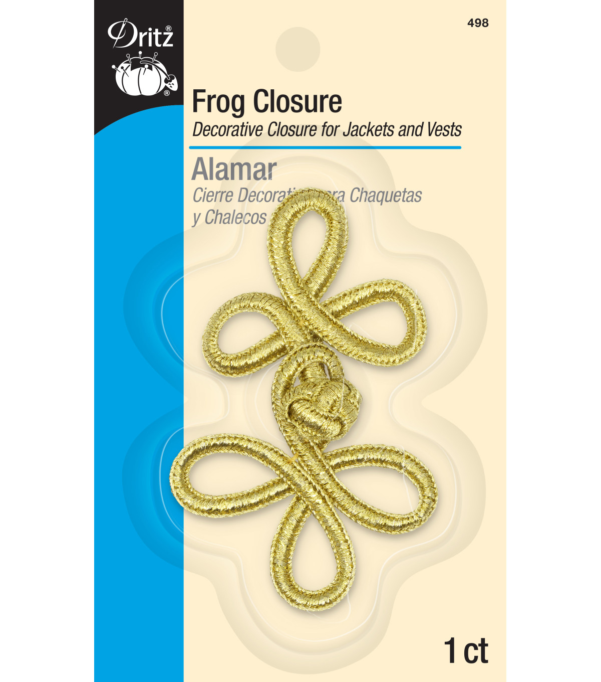 Frog Closure 3-loop 3in Gold