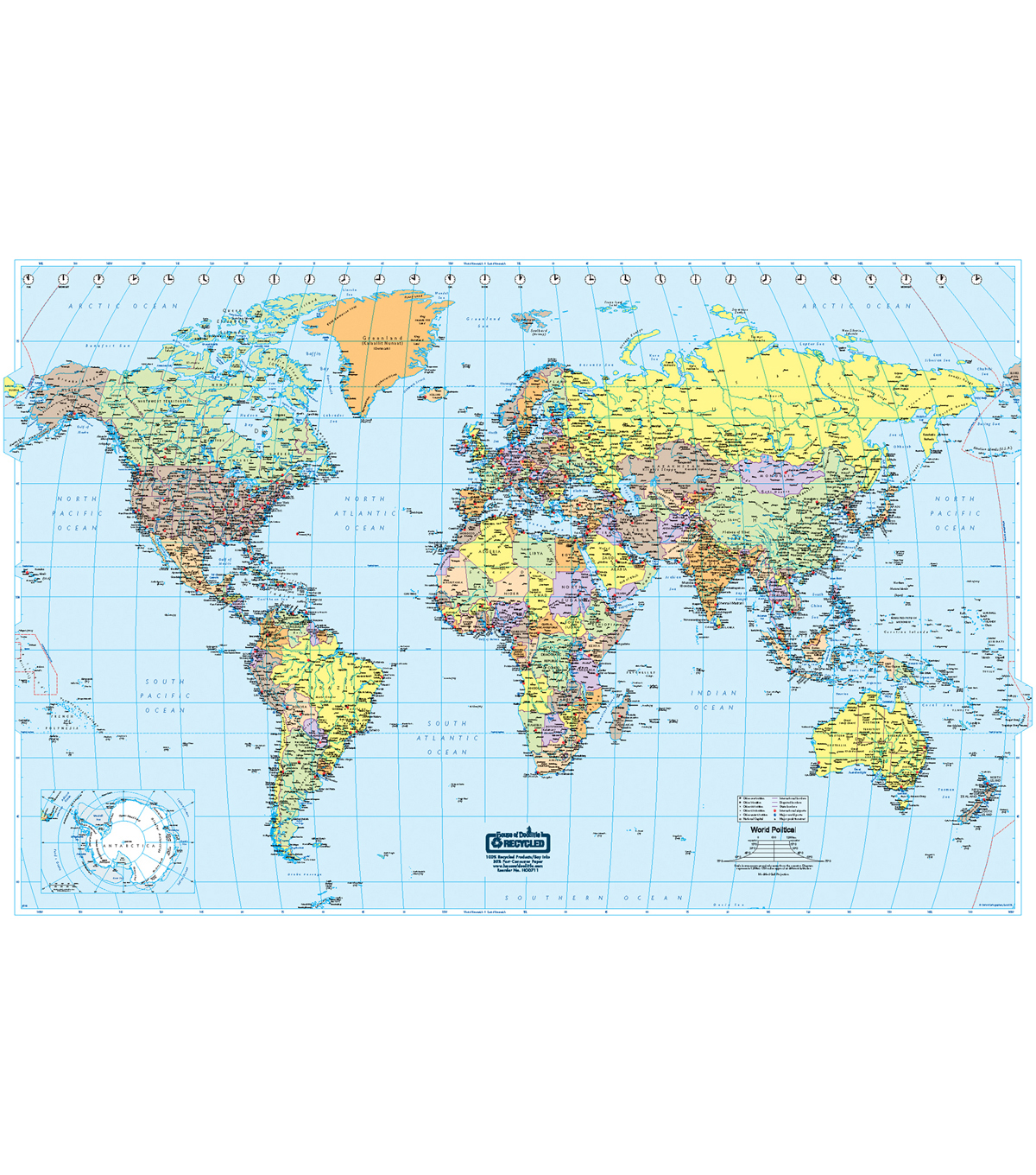 World Laminated Map, 38\u0022 x 25\u0022